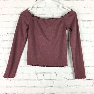 Windsor off shoulder top long sleeve cropped small